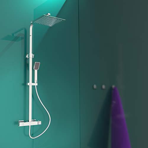 EISL DX1104CST Duschset CALVINO, Duschsäule 2 in 1 mit großer Regendusche (250 x 250 mm) und Handbrause, Dusche mit Thermostat Armatur, komplettes Montageset, Chrom