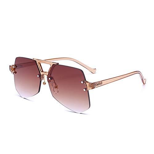 QCSMegy Gafas de Sol Púrpura Azul Marrón Rojo Transparente Irregular Gafas De Sol Mujer Hombre con Gafas De Sol De Recorte Sin Marco Red Neta con Gafas De Sol (Color : Brown)