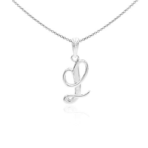 Sea of Ice Sterling Silver Initial Alphabet Letters L Pendant Necklace, 18 inch