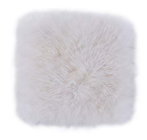 Luxor Living Schaffell, Flauschige Sitzauflage, Sitzkissen aus 100% echtem Lammfell, Farbe:Weiß, Größe:34 x 34 cm