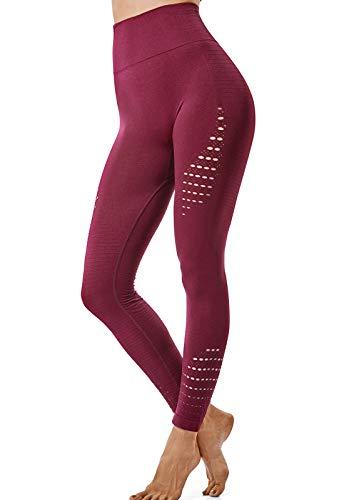 FITTOO Leggings Sin Costuras Corte de Malla Mujer Pantalon Deportivo Alta Cintura Yoga Elásticos Fitness Seamless #1 Rojo Small
