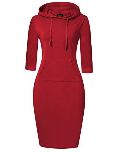 GloryStar Women's Casual Fitted Long Sleeve Pullover Pocket Knee Length Sweatshirt Hoodie Dress Red