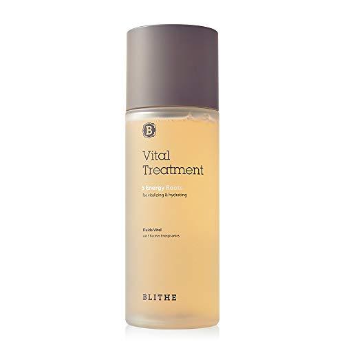 Blithe Vital Treatment 5 Energy Roots Anti Acne Face Essence - Korean Essence Toner for Face with Red Ginseng Licorice & Burdock, Vegan Moisturizer K Beauty Skincare Vitalizing & Hydrating 5 Fl Oz