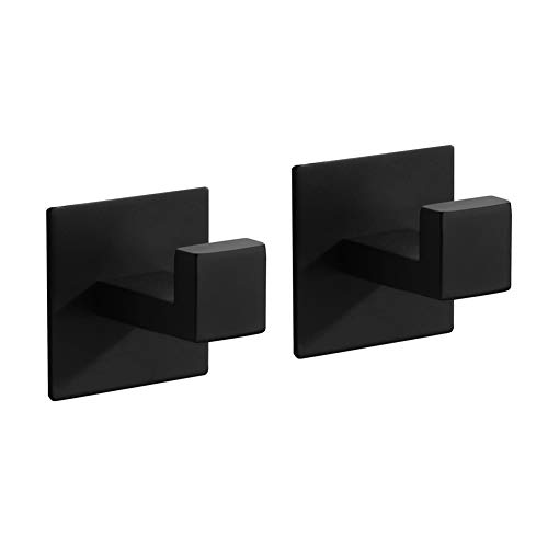 Selbstklebendes Badetuch Bademantel Mantelhaken SUS304 Edelstahl Zubehör für Bad Schlafzimmer Küche matt schwarz 2 Stück