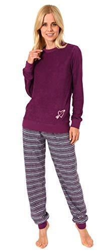 RELAX by Normann Damen Frottee Pyjama mit Bündchen - Hose gestreift, Oberteil mit Herz Motiv - 291 13 901, Farbe:rot, Größe:44/46