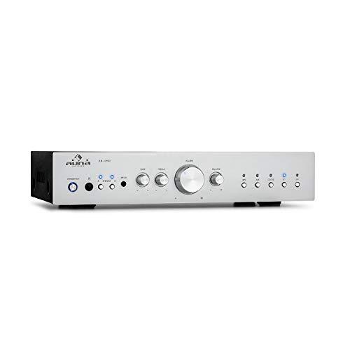 auna AV2-CD608BT HiFi-StereoVerstärker, Ausgangsleistung: 4 x 100 Watt RMS, Bluetooth, Eingänge: 1 x Digital Optisch / 4 x Stereo-RCA, Infrarotfernbedienung, Frontplatte aus Aluminium, Silber
