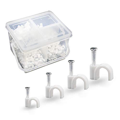 Sookg 400 Stück Kabelschelle, 6 mm, 7 mm, 8 mm, 10 mm, Cable Clips, Klebeclip für Einsatznägel, mit tragbarer PP-Box(Weiß)