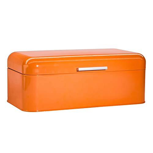 Large Orange Bread Box - Extra Large Storage Container for Loaves, Bagels, Chips & More: 16.5' x 8.9' x 6.5' | Bonus Recipe EBook