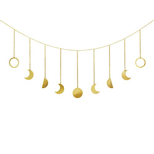 Mkono Moon Phase Wall Hanging Moon Garland Decor Boho Home Decoration Shining Moon Hang Art Ornaments for Bedroom Headboard Living Room Dorm Nursery Apartment Office, Gold, 53'