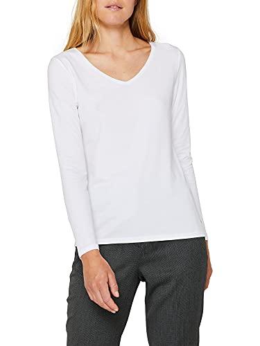 ESPRIT Damen 999Ee1K816 Langarmshirt, 100/WHITE, Medium (Herstellergröße: M)