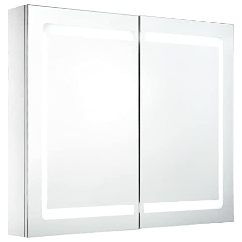 vidaXL Armario de Cuarto de Baño con Espejo y LED Mobiliario Casa...