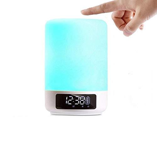 Luces solares LED de luz nocturna Reloj despertador Altavoz Bluetooth Altavoz inalámbrico, Sensor de toque Lámpara de cabecera, Regulable Cambio de color Reproductor de música ligero Luces al aire lib