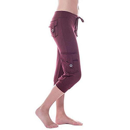 Women's Calf-Length Pants Casual Drawstring Comfy Loose Pant Trousers Ladies Pocket Design Pants Wine Red