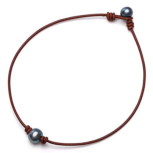 2020 Ladies Fashion Single Cultured Freshwater Pearl Choker Necklace for Women Genuine Leather Jewelry Handmade (Brown,)