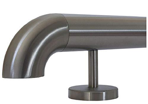 Edelstahlhandlauf Länge 0,3m - 6m aus einem Stück und unterschiedlichen Endstücken zum Auswählen Ø 33,7 mm mit gerade Halter, zum Beispiel: Länge 300 cm mit 4 Halter, Enden mit Bogen zur Wand