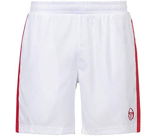 Sergio Tacchini Pantalones Cortos para Hombre Young Line Pro, Hombre, Pantalones Cortos para Hombre, 36852, Blanco, Rojo, Small