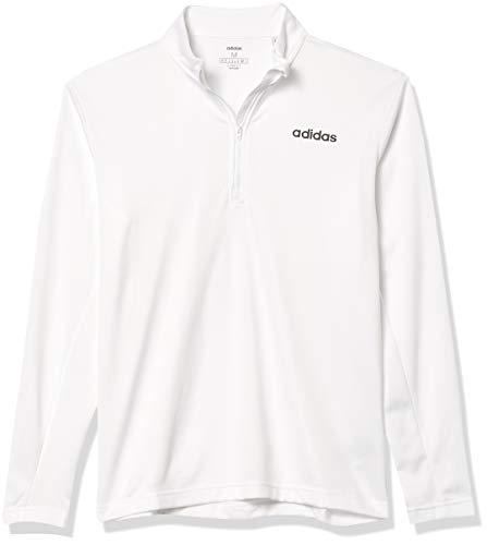 adidas D2m Clima - Camisa de Manga Larga con Cremallera de 1/4 para Hombre, Hombre, Camisa, GVD42, Blanco, L