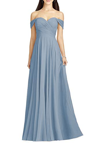 Off the Shoulder Sweetheart Wedding Dress Chiffon