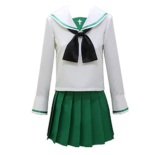 3PCS Anime MÄDCHEN und PANZER Ooarai Mädchen High School Halloween Karneval Cosplay Kostüm Schuluniform Kleid JK Anzüge