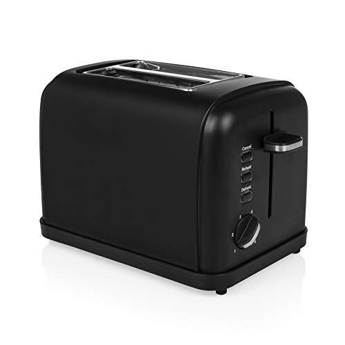 Princess Black Steel Toaster mit Brötchenaufsatz - 6 einstellbare Bräunungsstufen, Auftau-, Aufwärm- und Stoppfunktion, 950 Watt, Krümmelschale, 142396