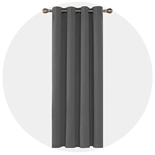 Deconovo Thermovorhang Blickdicht Verdunkelungsvorhang Ösen Vorhang Blickdicht 214x132 cm Hellgrau