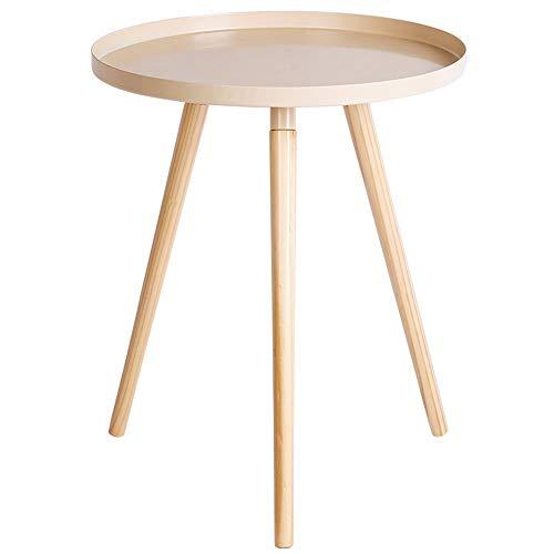 Kleine salontafel/massief houten hoek/smeedijzer mini-zijde, eenvoudige woonkamer balkon, wit (44×44×50cm)