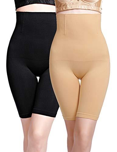 iWoo Miederpants Damen Bein Bauch Weg hohe Taille Miederhose Triumph Bauch Weg stark formend Body Shaper (Schwarz and Beige,XL)
