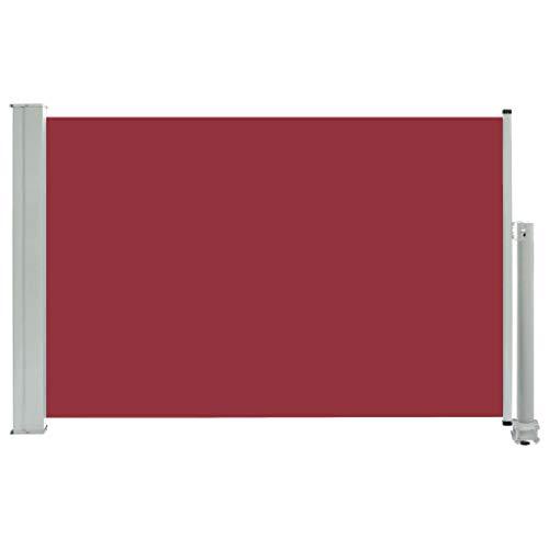 Festnight Ausziehbare Seitenmarkise Standmarkise UV- und Wasserbeständig Seitenrollo Balkon Terrasse und Garten Windschutz und Sichtschutz Terrasse Seitenrollo 60×300 cm Rot