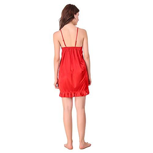 SairaSonic Satin Short Nighty with Bra & Thong (Free Size, M-L)- Red