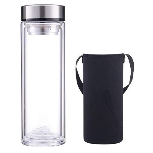 Termo de acero inoxidable botella de agua potable |a prueba de fugas taza de cristal doble de gran capacidad de espesamiento del coche de los hombres 1000ml portátiles taza de té grande ,Copa con tapa