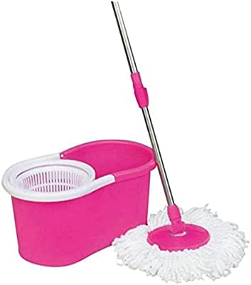 Zelenor 360 Degree Cleaning Spin Mop with Bucket and 2 Microfiber Refill Head for Floor, Medium, Multicolour Bucket Mop Set