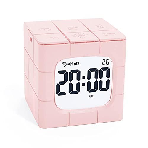 Yousiju Model Crafts Reloj despertador perezoso con luz de noche, reloj digital de escritorio electrónico para decoración del hogar (color: A)