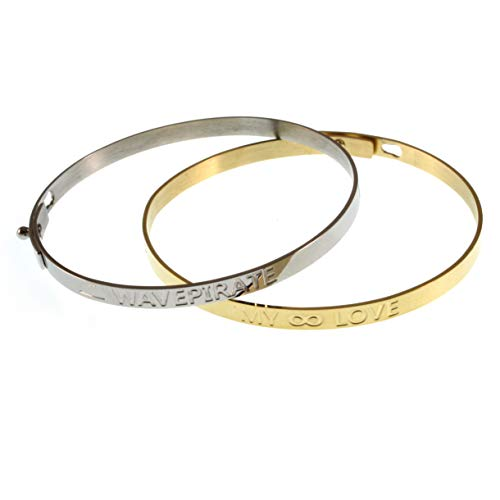 WAVEPIRATE Juego de 2 pulseras de acero inoxidable para mujer, color dorado y plateado