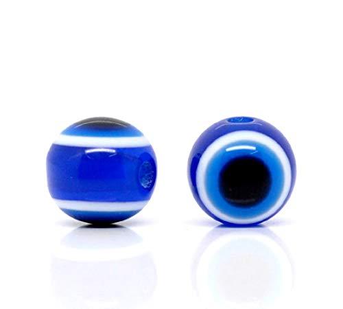HOUSWEETY 100 Dunkel Blau Resin rund Spacer Perlen Beads Evil Eye Boese Auge 10mm