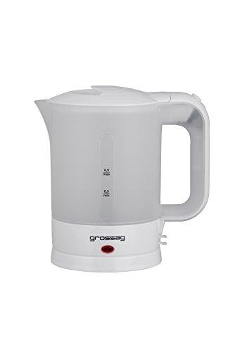 grossag Reise-Wasserkocher-Set WK 3.00 inkl. 2 Tassen und Löffeln | 0,5 Liter | Perfekt für Reisen und Camping