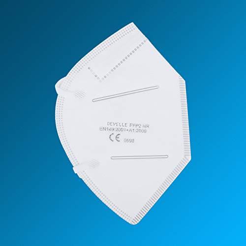 FFP2 Atemschutzmaske 20 Stück Packung einzeln Verpackt CE-Zertifizierte Atem Maske DEVELLE Schutzmaske für alle Bereiche - 7
