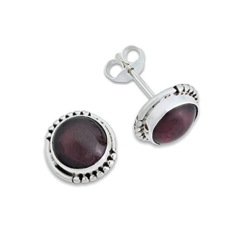 Ohrstecker Ohrringe Silber 925 Sterlingsilber Granat rot Stein (Nr: MOS 66-02)