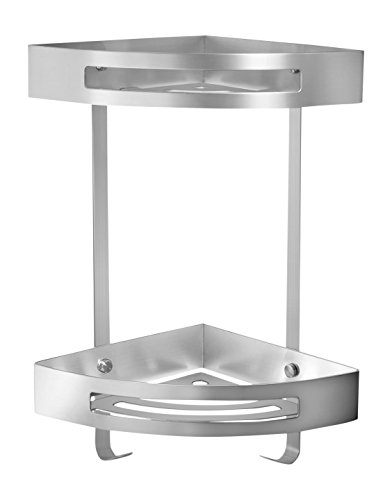 Ambrosya® | Exklusiver Duschkorb aus Edelstahl | Ablage Bad Badezimmer Badregal Duschablage Dusche Duschregal Eckablage Halter Halterung Korb Regal Wandablage (Edelstahl (Gebürstet), 2 Etagen)