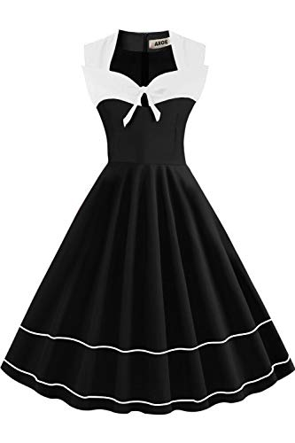 Axoe Damen Elegant Audrey Hepburn Kleid Rockabilly 60er Jahre Weiß Schwarz Gr.38