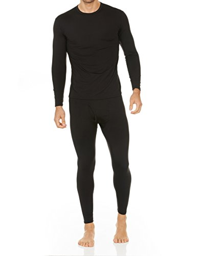 Thermajohn Men's Ultra Soft Thermal Underwear Long Johns Set with Fleece Lined (X-Large, Black)