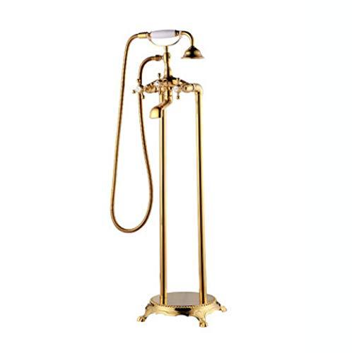 Tochange Fußboden Montiert Steh Badewanne Wasserhahn Zwei Griff Wanne Mixer Hahn Mit Handdusche, Antike Messing-Bad-Dusche Set,Gold