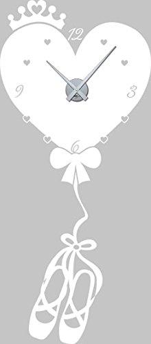 GRAZDesign muursticker klok hart als luchtballon - kinderklok kinderen wandklok ballerina / 800642 Uhrwerk silber 010, wit