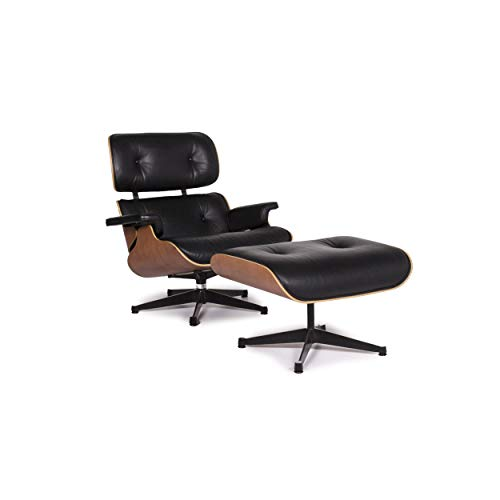 Vitra Eames Lounge Chair Incl.Stool Ottoman Leather Armchair Black Ray & Charles Eames