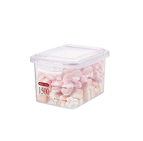 Annfly Contenedores de almacenamiento de alimentos grandes de plástico con tapas para harina y azúcar, organización de cocina y despensa, almacenamiento de alimentos a granel (1500 ml, rojo)