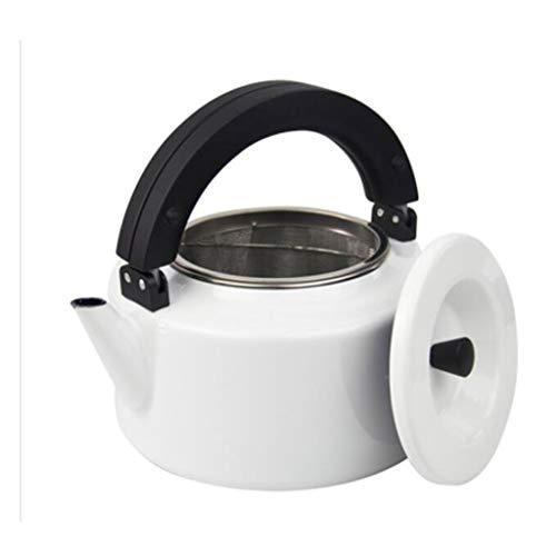 Théière de bouilloire bouillie par gaz de bouilloire de couleur solide importée par émail avec le filtre 2.3L UOMUN (Color : White)