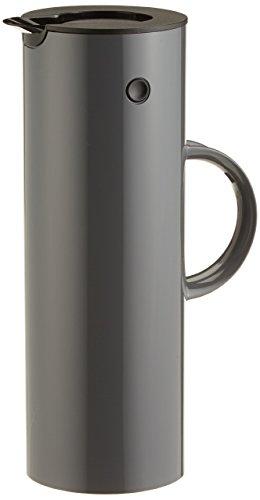 Stelton Isolierkanne EM77 - Doppelwandige Isolierkanne für heiße/kalte Getränke - Tee- & Kaffeekanne mit Glaseinsatz, Magnetverschluss, Schraubdeckel, Vintage-Design - 1 Liter, Granitgrau