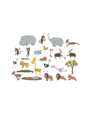 DECOLOOPIO – Lot de 25 Stickers pour Enfant Motif Animaux Sauvages