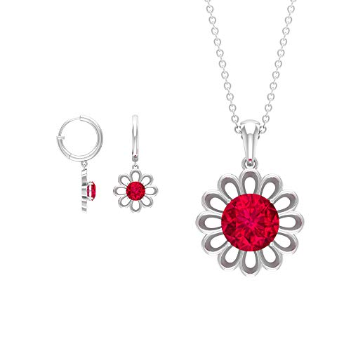 Gold Pendant Set with Earrings, 3.25 CT Solitaire Ruby Necklace, Gold Engraved Flower Women Pendants, Gold Hoop Drop Earrings, July Birthstone Pendant, 18K White Gold With Chain