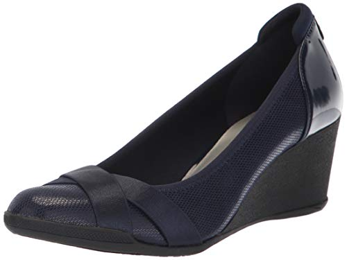 Anne Klein Women's Timeout Wedge Heel Pump, Navy, 8.5 M US
