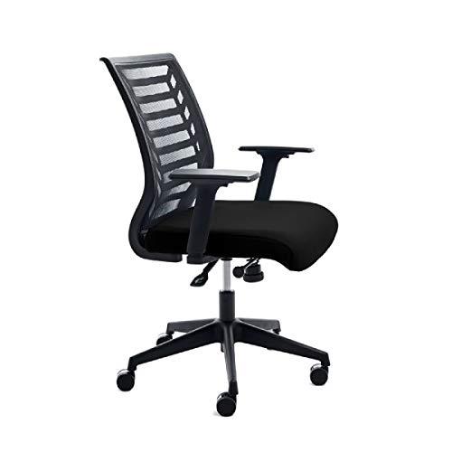 Rocada | Sedia da ufficio rivestita in schiuma iniettata, molto comoda, ergonomica e regolabile, colore: nero